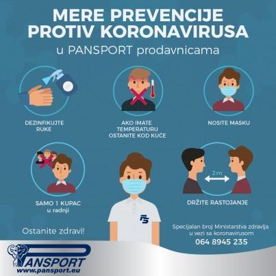 Mere prevencije protiv koronavirusa u Pansport prodavnicama