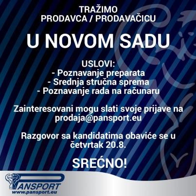 Konkurs za prodavca/prodavačicu u Pansportu - Novi Sad